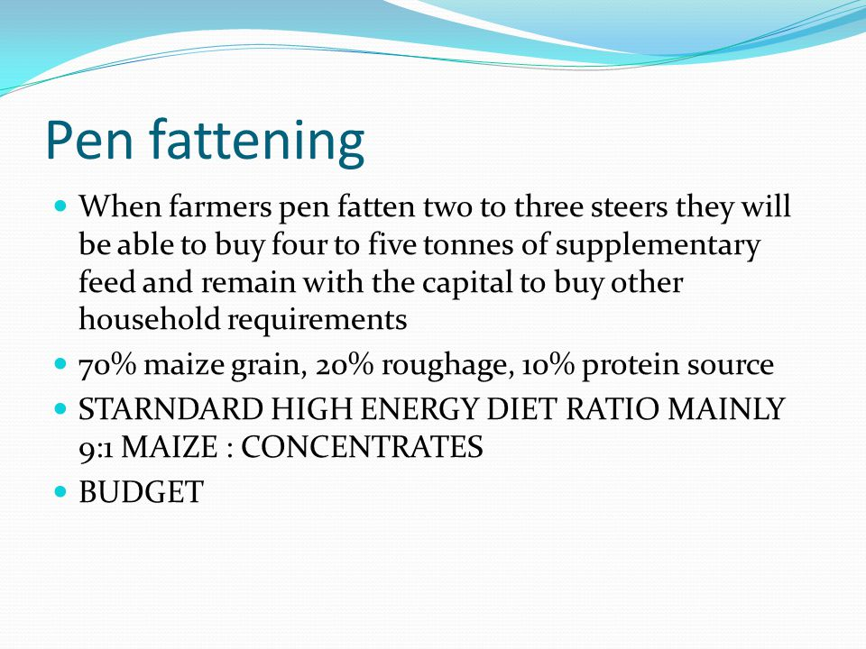 Pen fattening When farmers pen fatten two to three steers they will be able to buy four to five tonnes of supplementary feed and remain with the capit