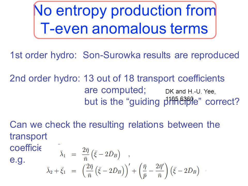 No entropy production from T-even anomalous terms 27 1st order hydro: Son-Surowka results are reproduced 2nd order hydro: 13 out of 18 transport coeff