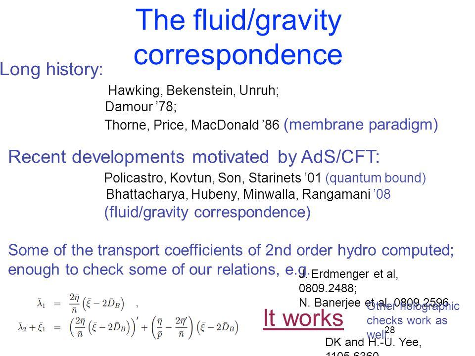 The fluid/gravity correspondence 28 DK and H.-U. Yee, 1105.6360 Long history: Hawking, Bekenstein, Unruh; Damour '78; Thorne, Price, MacDonald '86 (me