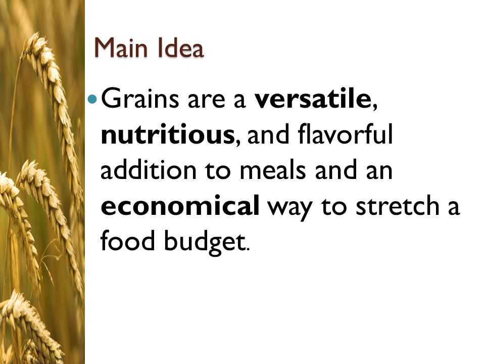 Main Idea Grains are a versatile, nutritious, and flavorful addition to meals and an economical way to stretch a food budget.
