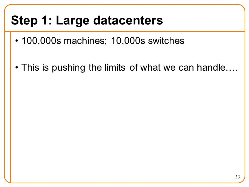 Step 1: Large datacenters 100,000s machines; 10,000s switches This is pushing the limits of what we can handle….