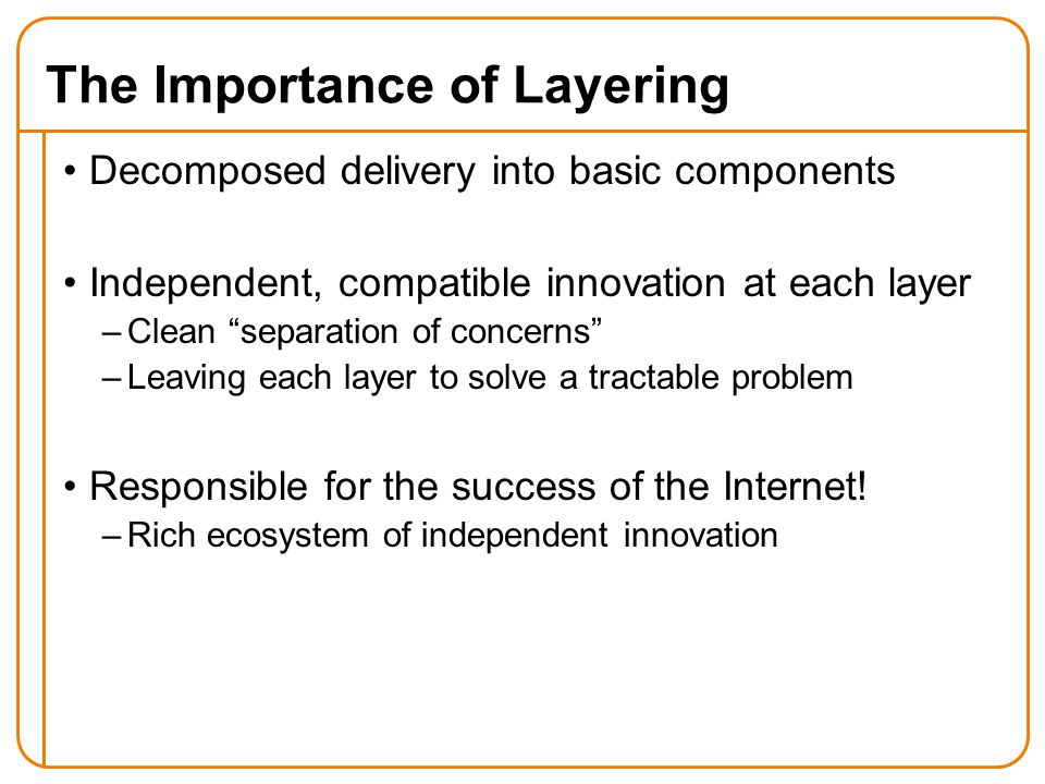The Importance of Layering Decomposed delivery into basic components Independent, compatible innovation at each layer –Clean separation of concerns –Leaving each layer to solve a tractable problem Responsible for the success of the Internet.