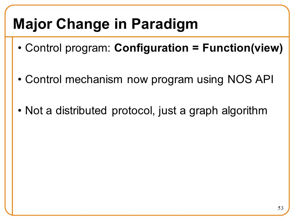 Major Change in Paradigm Control program: Configuration = Function(view) Control mechanism now program using NOS API Not a distributed protocol, just a graph algorithm 53