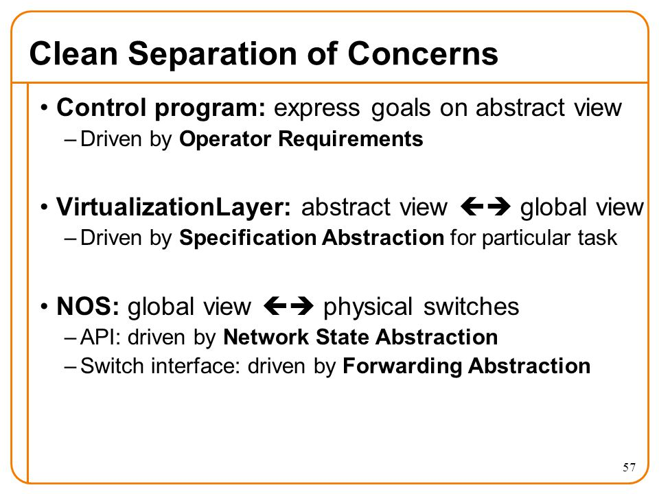 Clean Separation of Concerns Control program: express goals on abstract view –Driven by Operator Requirements VirtualizationLayer: abstract view  global view –Driven by Specification Abstraction for particular task NOS: global view  physical switches –API: driven by Network State Abstraction –Switch interface: driven by Forwarding Abstraction 57