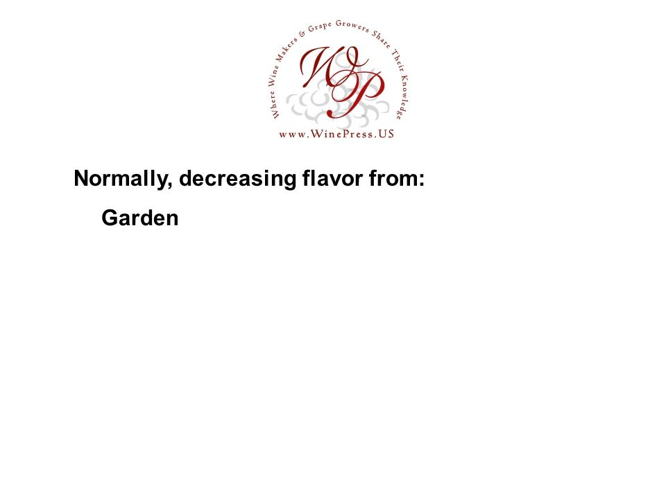 Garden Normally, decreasing flavor from: