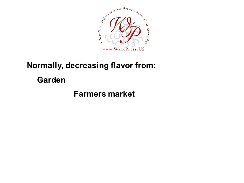 Garden Normally, decreasing flavor from: Farmers market