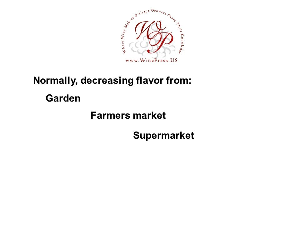 Garden Normally, decreasing flavor from: Farmers market Supermarket