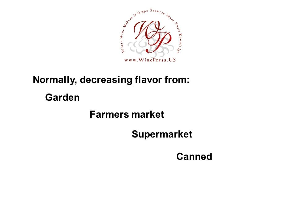Garden Normally, decreasing flavor from: Farmers market Supermarket Canned