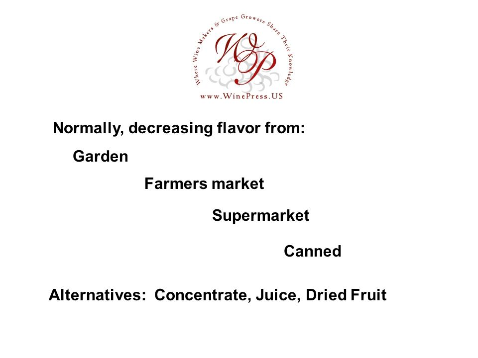 Garden Alternatives: Concentrate, Juice, Dried Fruit Normally, decreasing flavor from: Farmers market Supermarket Canned