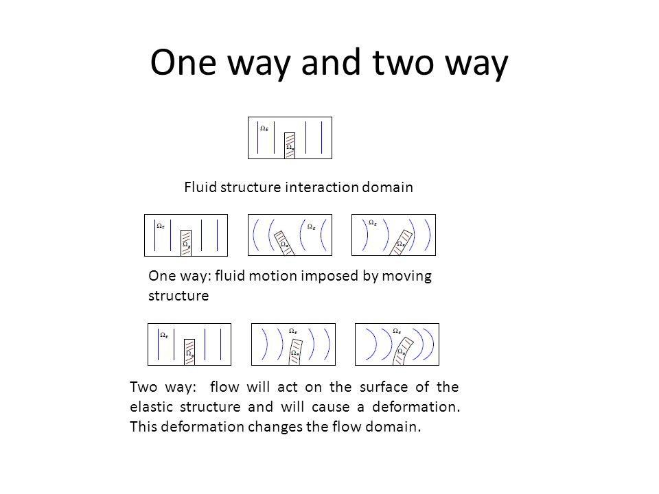 One way and two way One way: fluid motion imposed by moving structure Fluid structure interaction domain Two way: flow will act on the surface of the elastic structure and will cause a deformation.