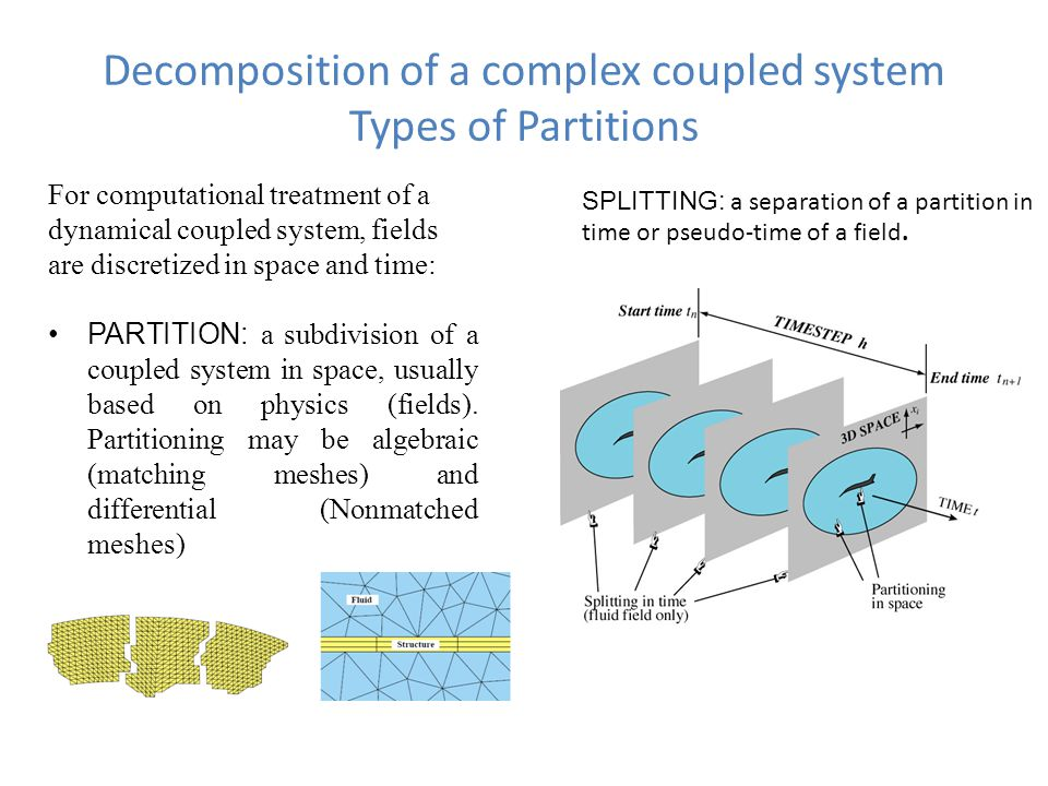 Decomposition of a complex coupled system Types of Partitions For computational treatment of a dynamical coupled system, fields are discretized in space and time: PARTITION: a subdivision of a coupled system in space, usually based on physics (fields).