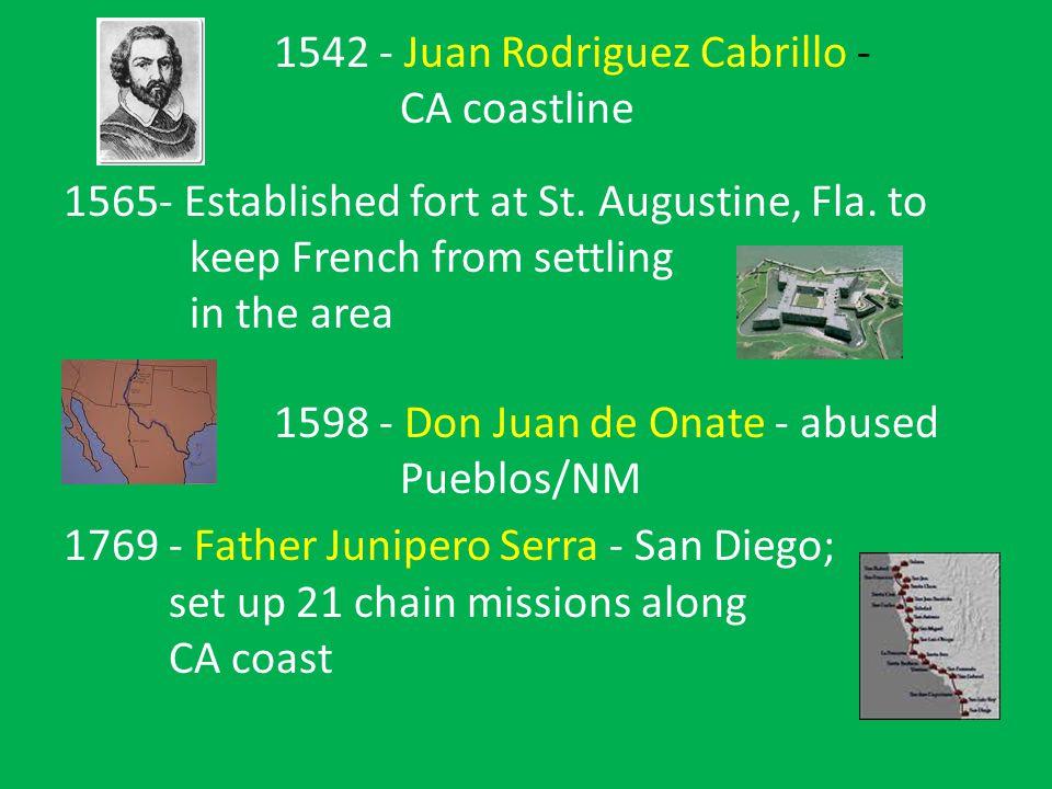 1542- Juan Rodriguez Cabrillo - CA coastline 1565- Established fort at St.