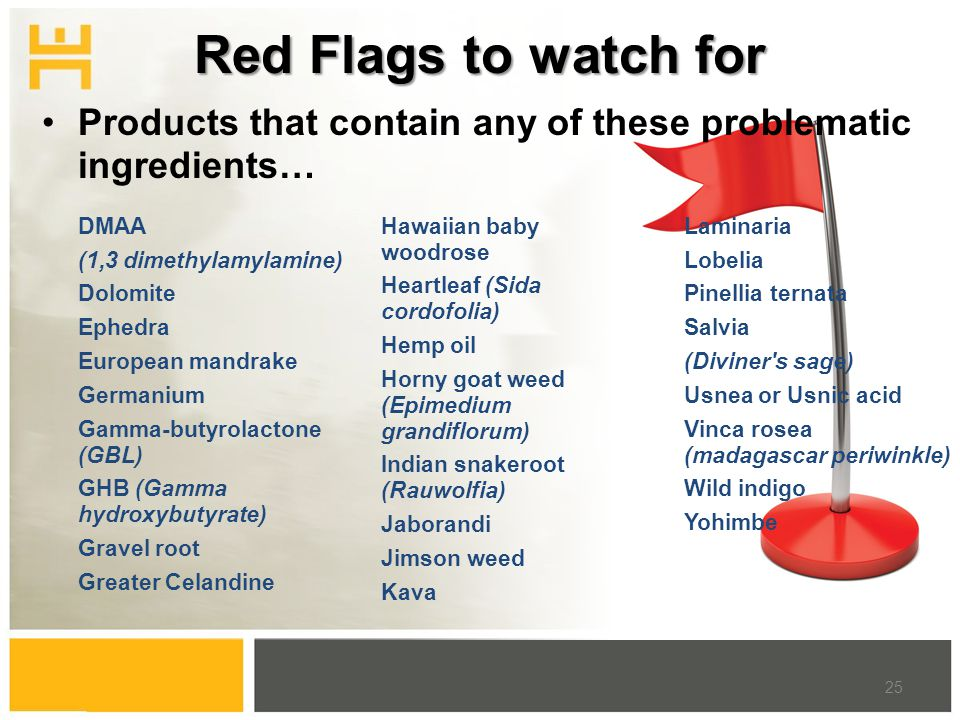 Red Flags to watch for DMAA (1,3 dimethylamylamine) Dolomite Ephedra European mandrake Germanium Gamma-butyrolactone (GBL) GHB (Gamma hydroxybutyrate)