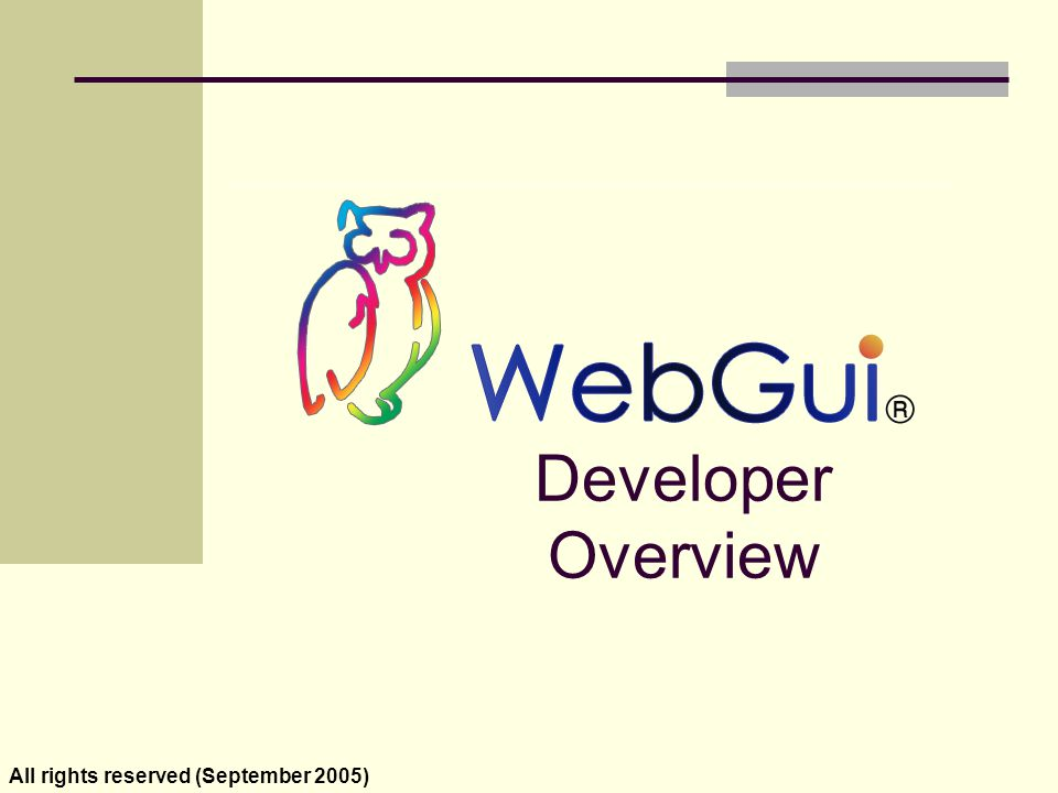 WebGui Best Practices A WebGui application runs in the server session.