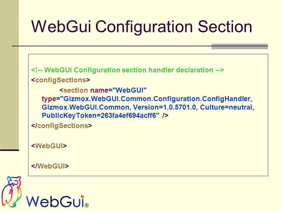 WebGui Configuration Section