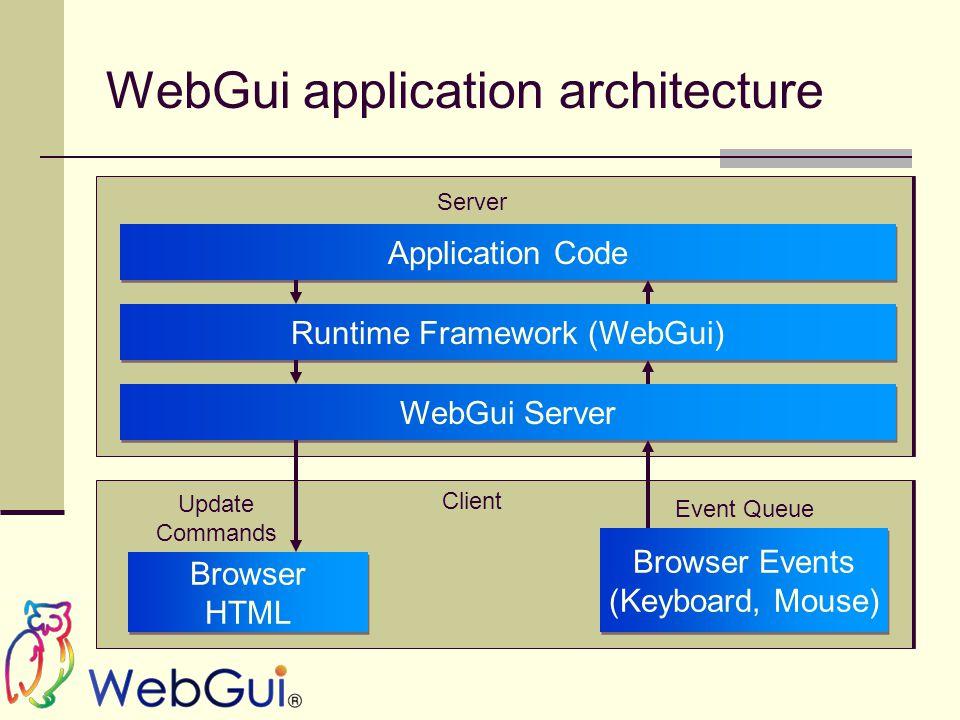 WebGui application architecture Application Code Runtime Framework (WebGui) WebGui Server Browser HTML Browser HTML Browser Events (Keyboard, Mouse) Browser Events (Keyboard, Mouse) Update Commands Event Queue Server Client
