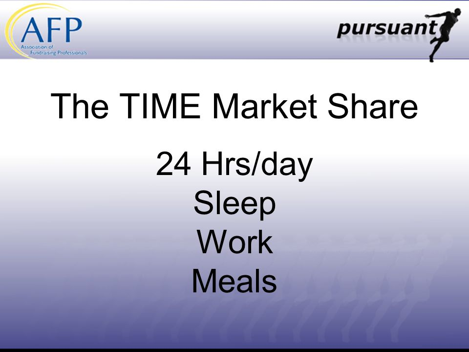 The TIME Market Share 24 Hrs/day Sleep Work Meals