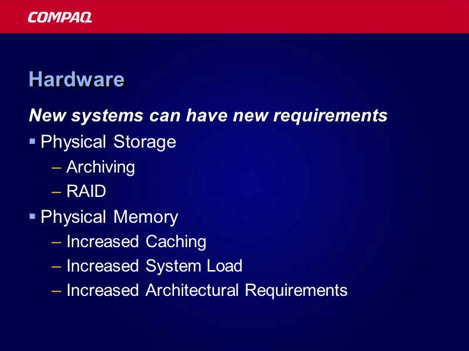 HardwareHardware Consolidation vs.Replacement  Considerations: –Redundancy vs.