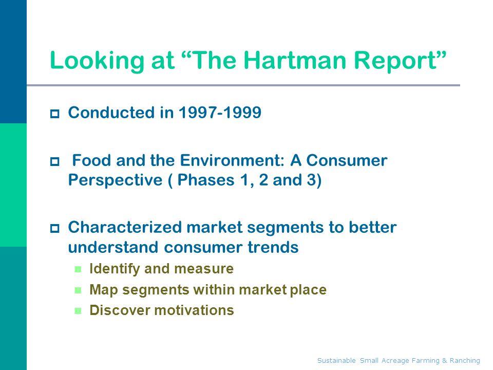 Sustainable Small Acreage Farming & Ranching The market segments summary Phase 1 - 1996