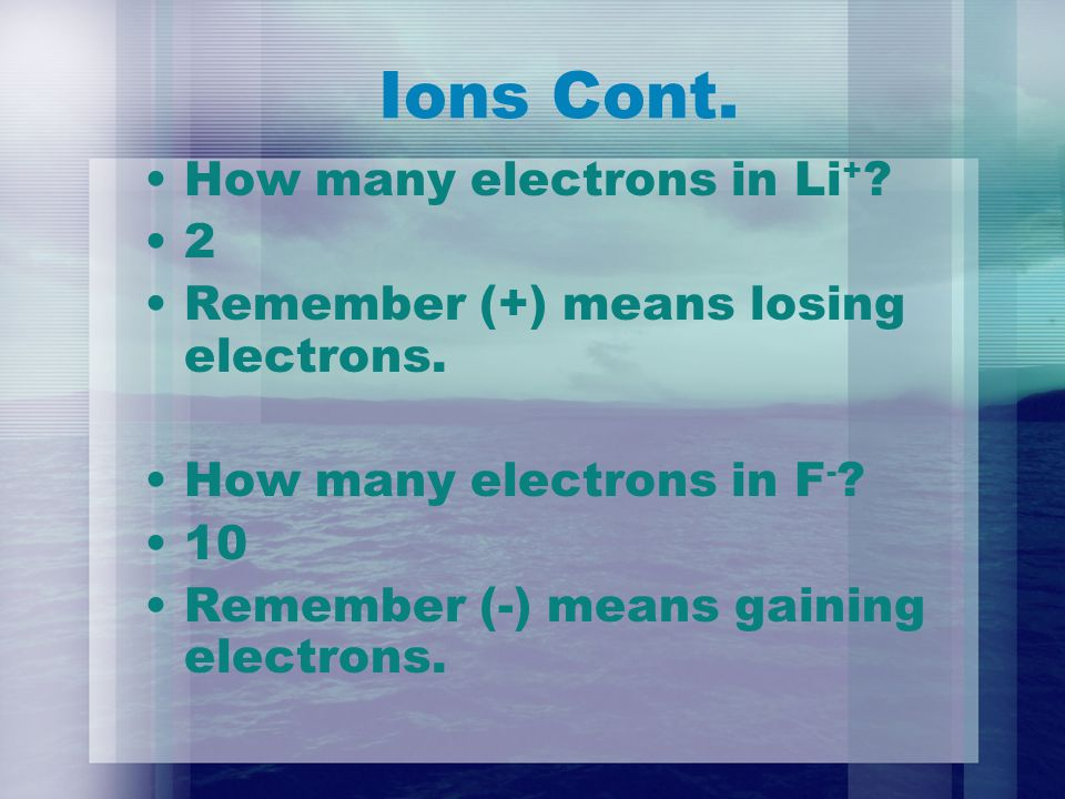 Ions Cont. How many electrons in Li + . 2 Remember (+) means losing electrons.