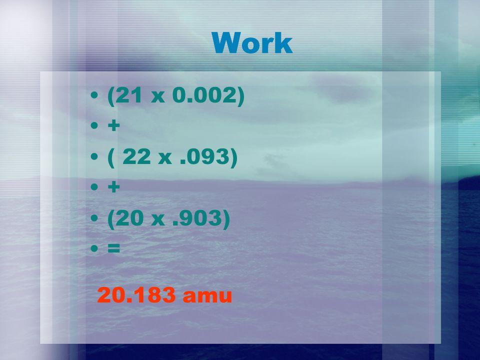 Work (21 x 0.002) + ( 22 x.093) + (20 x.903) = 20.183 amu