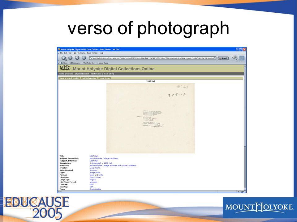 verso of photograph