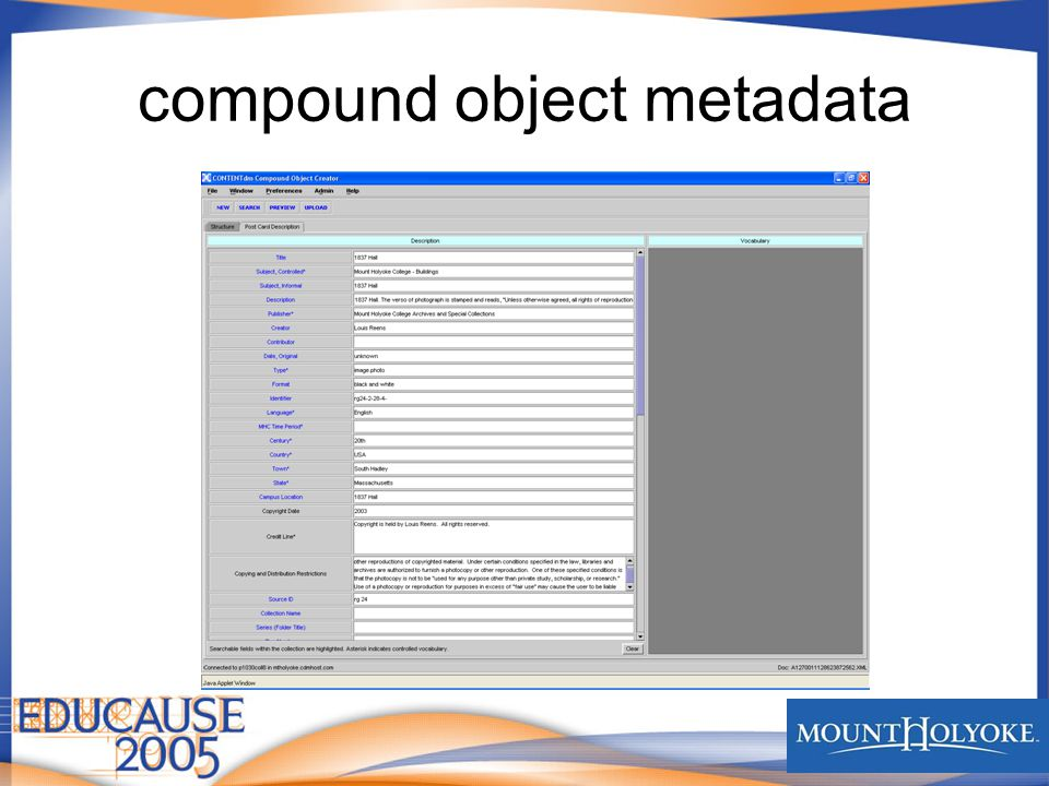 compound object metadata