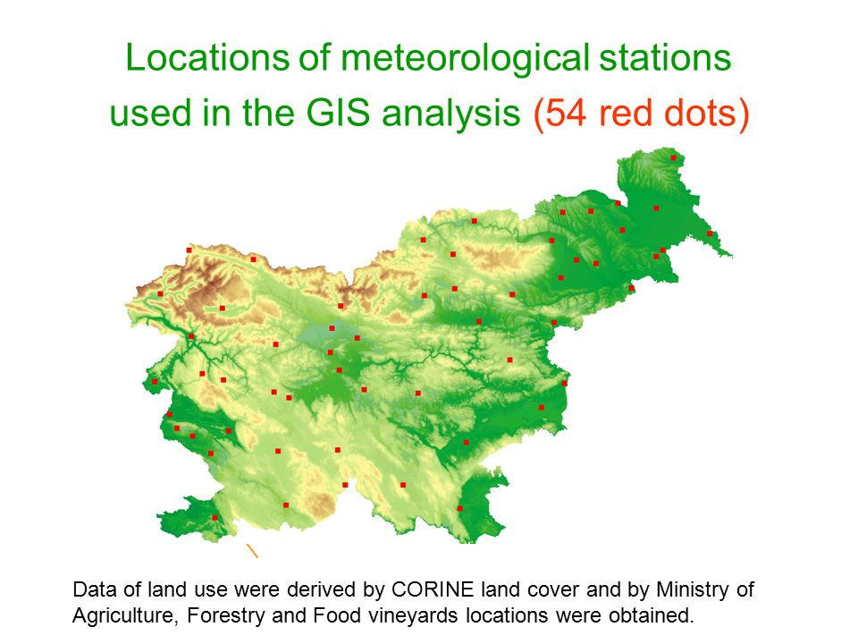Data of land use were derived by CORINE land cover and by Ministry of Agriculture, Forestry and Food vineyards locations were obtained. Locations of m