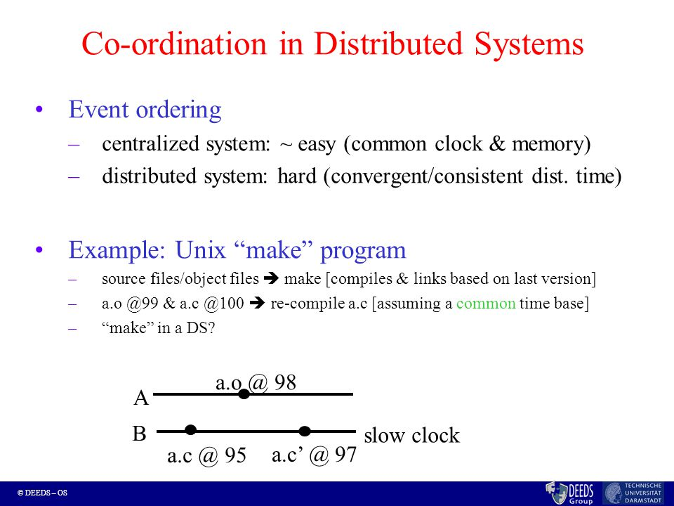 © DEEDS – OS Co-ordination in Distributed Systems Event ordering –centralized system: ~ easy (common clock & memory) –distributed system: hard (convergent/consistent dist.