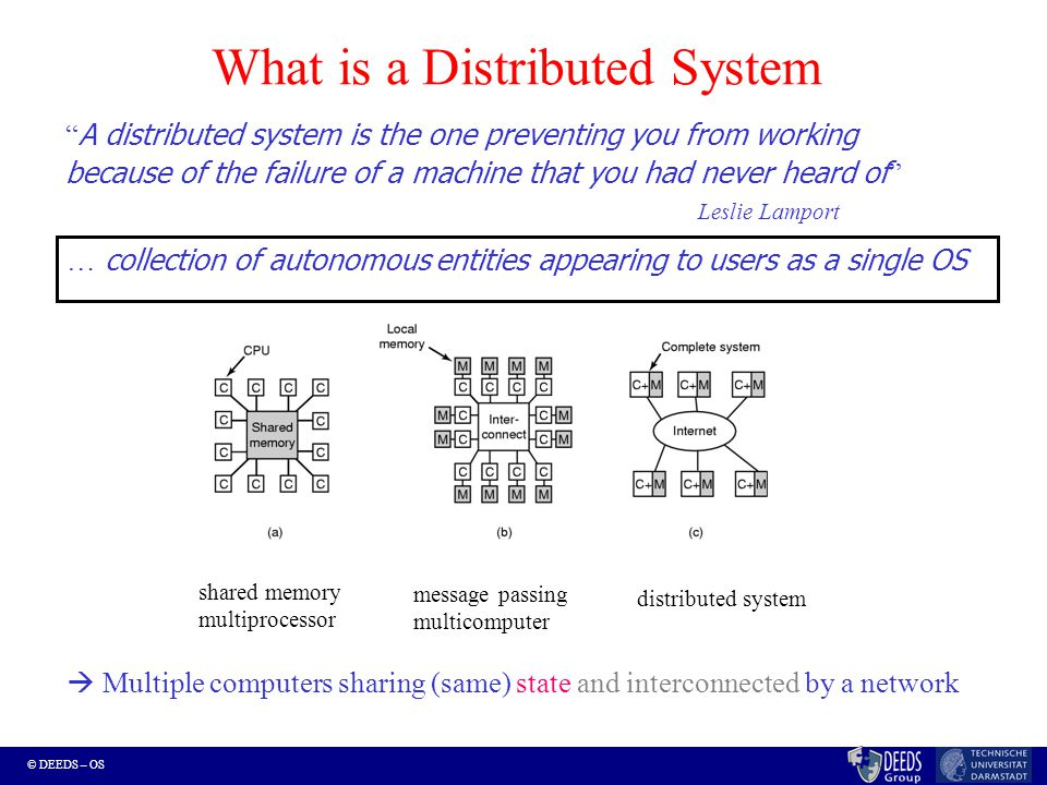 © DEEDS – OS What is a Distributed System A distributed system is the one preventing you from working because of the failure of a machine that you had never heard of Leslie Lamport  Multiple computers sharing (same) state and interconnected by a network … collection of autonomous entities appearing to users as a single OS shared memory multiprocessor message passing multicomputer distributed system