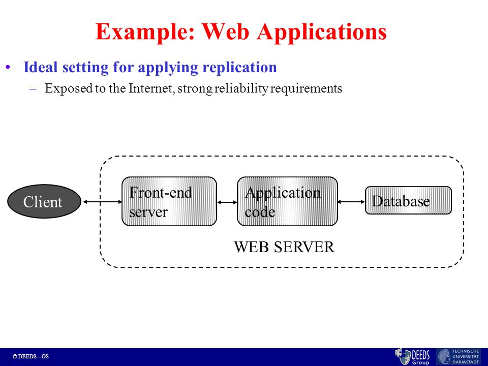 © DEEDS – OS Example: Web Applications Ideal setting for applying replication –Exposed to the Internet, strong reliability requirements Application code Front-end server Database WEB SERVER Client