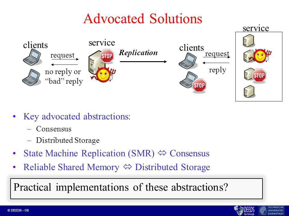 © DEEDS – OS Key advocated abstractions: –Consensus –Distributed Storage State Machine Replication (SMR)  Consensus Reliable Shared Memory  Distributed Storage Advocated Solutions no reply or bad reply clients request reply clients Replication request service Practical implementations of these abstractions