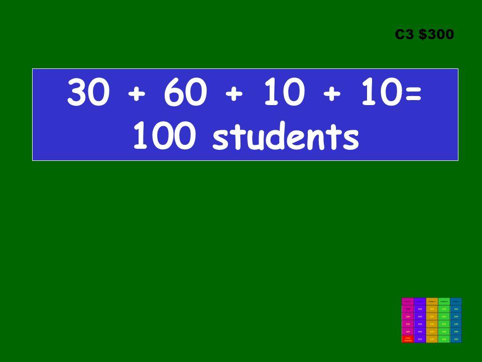 C3 $300 30 + 60 + 10 + 10= 100 students