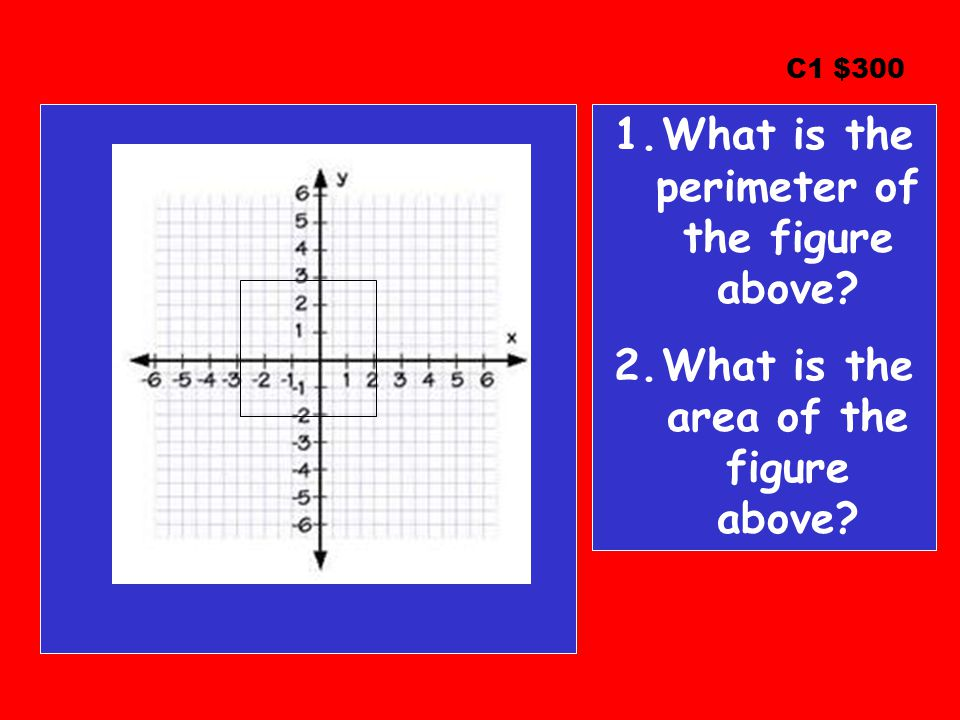 C1 $300 1.What is the perimeter of the figure above? 2.What is the area of the figure above?