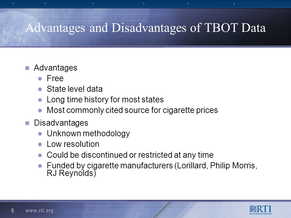 6 Advantages and Disadvantages of TBOT Data Advantages Free State level data Long time history for most states Most commonly cited source for cigarett