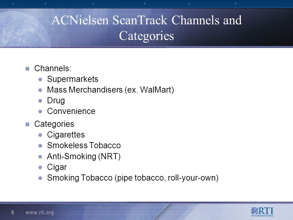 9 ACNielsen ScanTrack Channels and Categories Channels: Supermarkets Mass Merchandisers (ex.