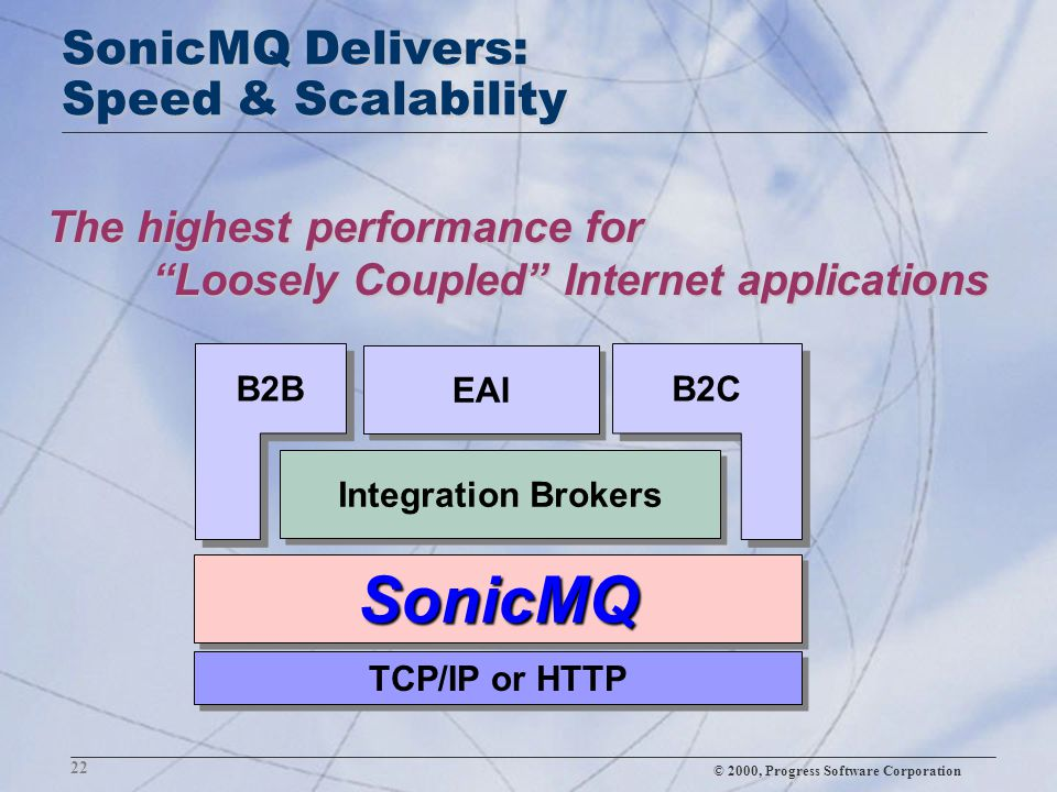 "© 2000, Progress Software Corporation 22 SonicMQ Delivers: Speed & Scalability The highest performance for ""Loosely Coupled"" Internet applications Son"