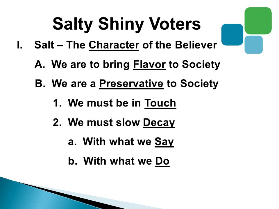 Salty Shiny Voters I.Salt – The Character of the Believer A.