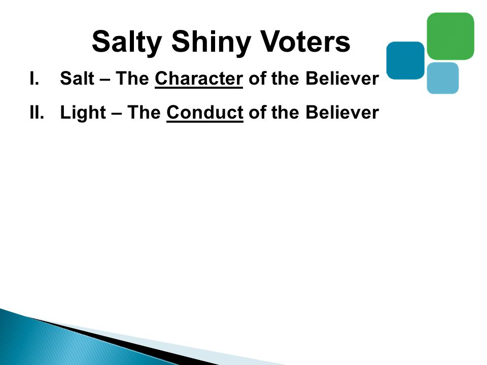 Salty Shiny Voters I.Salt – The Character of the Believer II.Light – The Conduct of the Believer