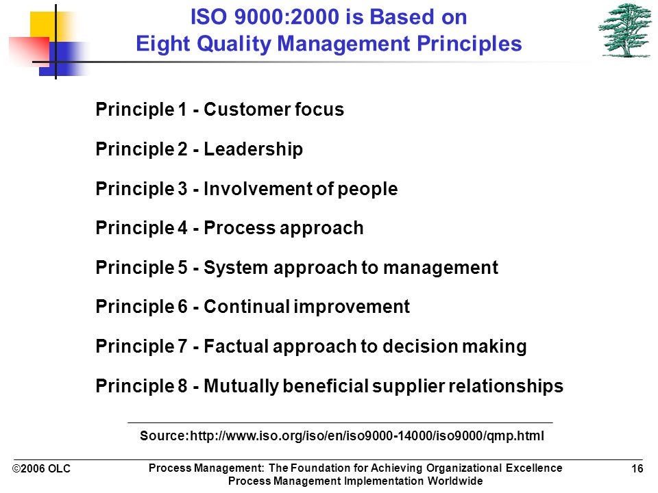 ©2006 OLC 16 Process Management: The Foundation for Achieving Organizational Excellence Process Management Implementation Worldwide ISO 9000:2000 is Based on Eight Quality Management Principles Principle 1 - Customer focus Principle 2 - Leadership Principle 3 - Involvement of people Principle 4 - Process approach Principle 5 - System approach to management Principle 6 - Continual improvement Principle 7 - Factual approach to decision making Principle 8 - Mutually beneficial supplier relationships Source: