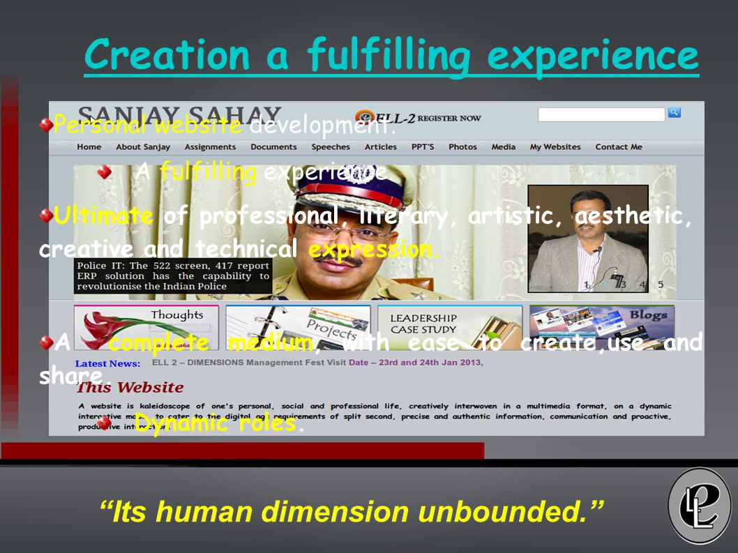 Creation a fulfilling experience Personal website development.