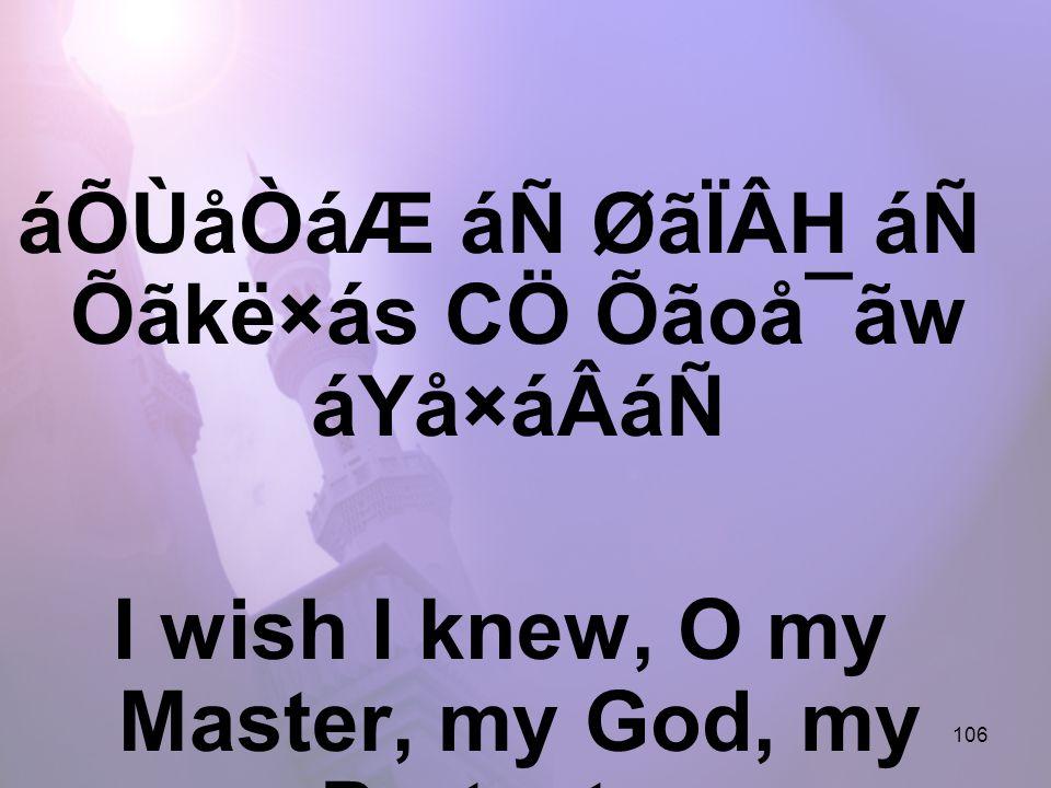 106 áÕÙåÒáÆ áÑ ØãÏÂH áÑ Õãkë×ás CÖ Õãoå¯ãw áYå×áÂáÑ I wish I knew, O my Master, my God, my Protector,