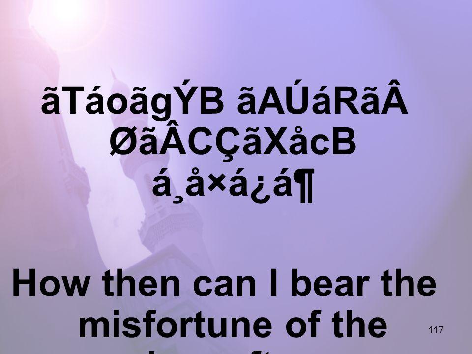 117 ãTáoãgÝB ãAÚáRãØãÂCÇãXåcB á¸å×á¿á¶ How then can I bear the misfortune of the hereafter,