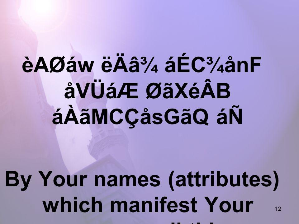 12 èAØáw ëÄâ¾ áÉC¾ånF åVÜáÆ ØãXéÂB áÀãMCÇåsGãQ áÑ By Your names (attributes) which manifest Your power over all things.