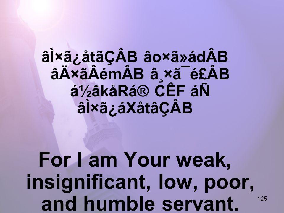 125 âÌ×ã¿åtãÇÂB âo×ã»ádÂB âÄ×ãÂémÂB â¸×ã¯é£ÂB á½âkåRá® CÊF áÑ âÌ×ã¿áXåtâÇÂB For I am Your weak, insignificant, low, poor, and humble servant.