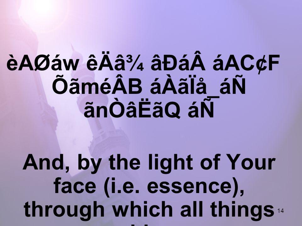14 èAØáw êÄâ¾ âÐááAC¢F ÕãméÂB áÀãÏå_áÑ ãnÒâËãQ áÑ And, by the light of Your face (i.e.