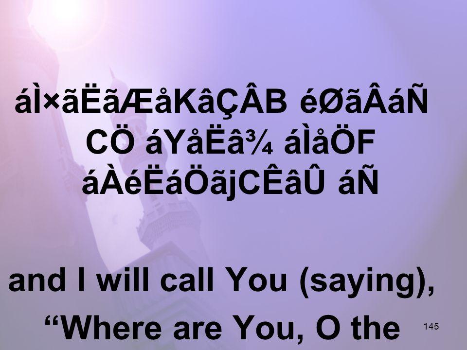 145 áÌ×ãËãÆåKâÇÂB éØãÂáÑ CÖ áYåËâ¾ áÌåÖF áÀéËáÖãjCÊâÛ áÑ and I will call You (saying), Where are You, O the Protector of believers!