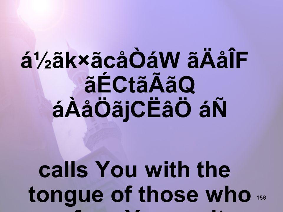 156 á½ãk×ãcåÒáW ãÄåÎF ãÉCtãÃãQ áÀåÖãjCËâÖ áÑ calls You with the tongue of those who profess Your unity,