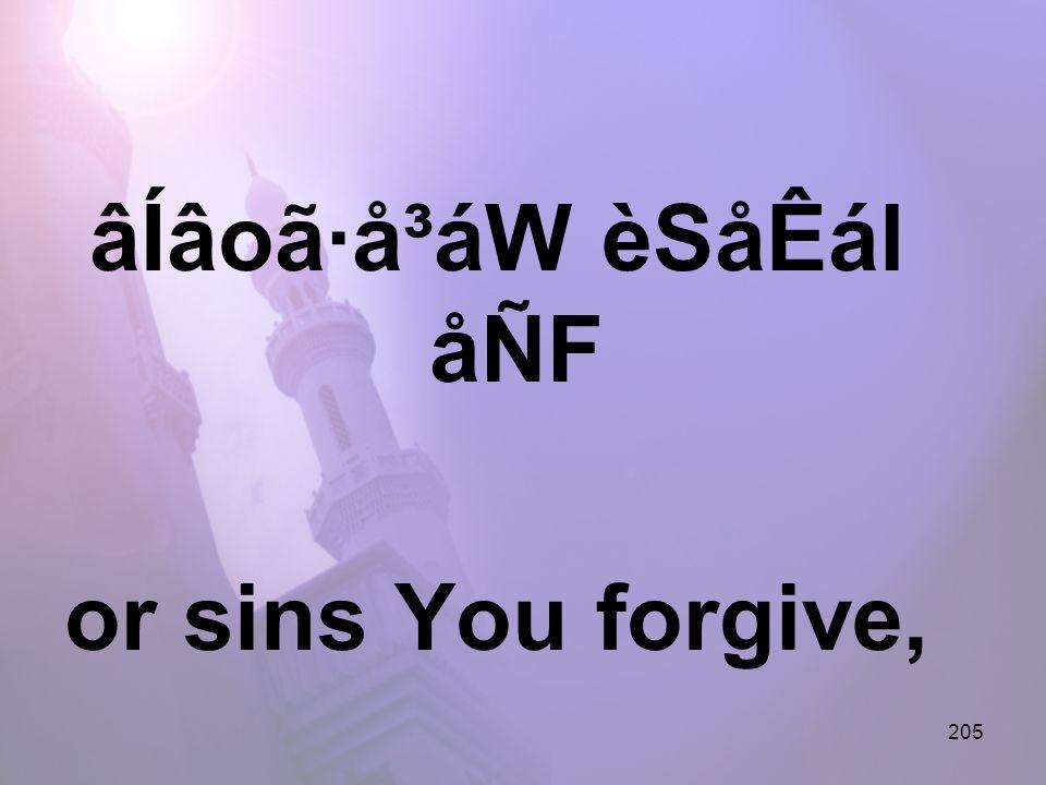 205 âÍâoã·å³áW èSåÊál åÑF or sins You forgive,