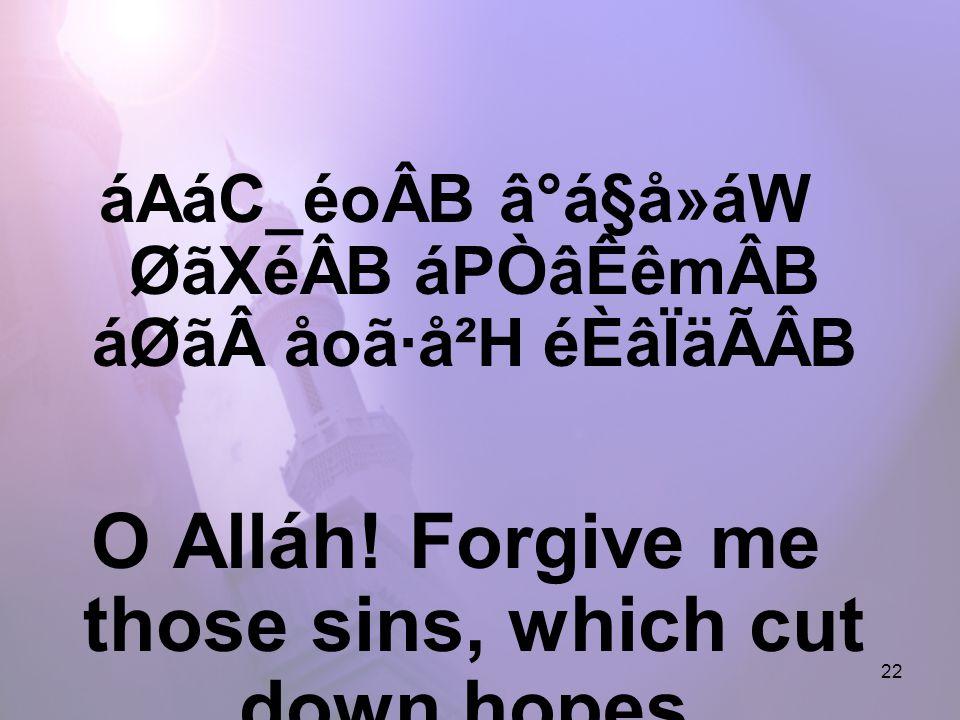 22 áAáC_éoÂB â°á§å»áW ØãXéÂB áPÒâÊêmÂB áØãåoã·å²H éÈâÏäÃÂB O Alláh.